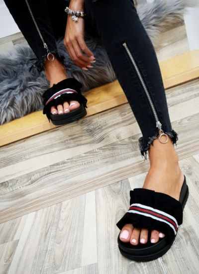 PLEATED SLIPPERS - BLACK