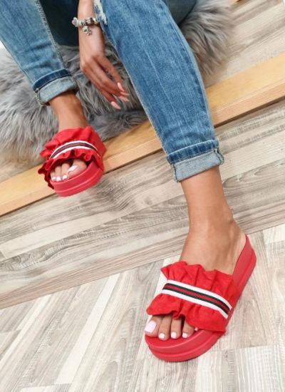 PLEATED SLIPPERS - RED