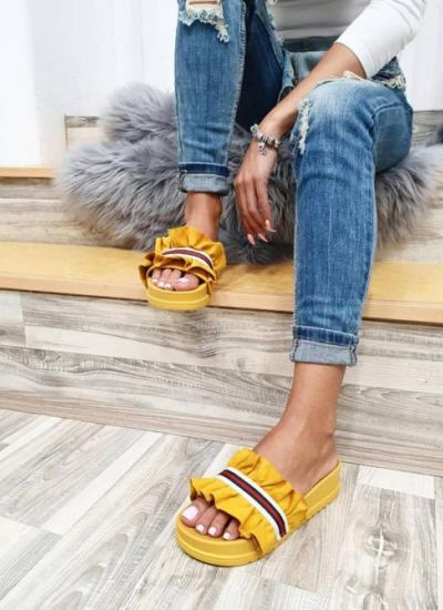 PLEATED SLIPPERS - YELLOW