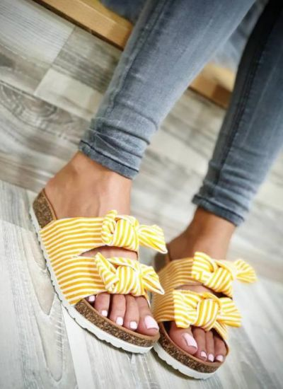 STRIPED SLIPPERS WITH BOW - YELLOW