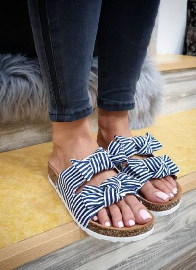 STRIPED SLIPPERS WITH BOW - NAVY BLUE