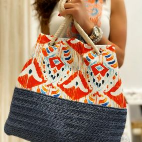 COLORFUL BAG WITH KNOT - BLUE/ WHITE / ORANGE