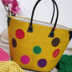 KNITTED BAG WITH DOTS - YELLOW