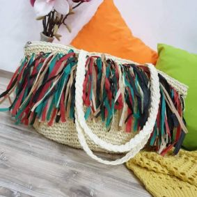 KNITTED  BAG WITH TASSELS - BEIGE