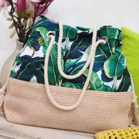 BAG WITH FLOWER PRINT - GREEN