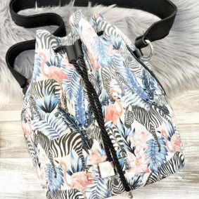 BACKPACK WITH ZEBRA FLAMINGO
