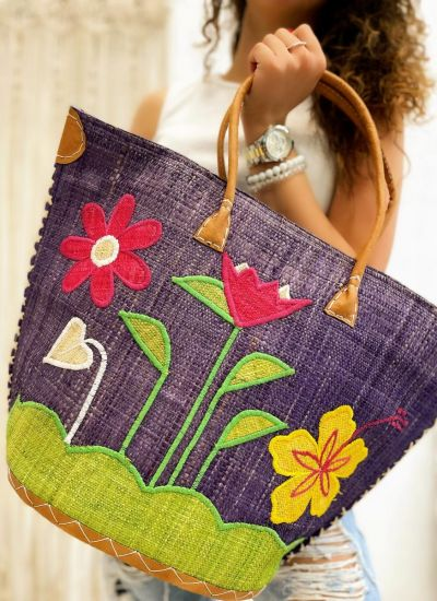 KNITTED FLOWER BAG -  PURPLE