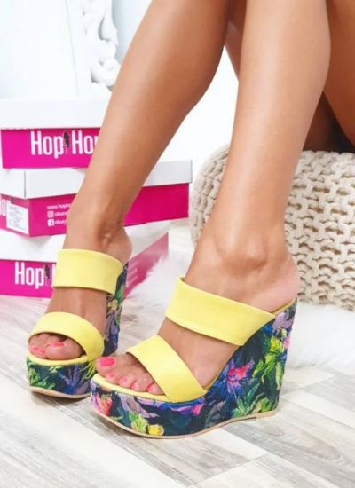 WEDGE FLORAL SLIPPERS - YELLOW