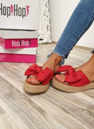JUTA SLIPPERS WITH BOW - RED