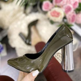 STILETTO SHOES WITH METALIC THICK HEEL - GREEN