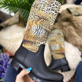 WATERPROOF RUBBER LEOPARD BOOTS -  BEIGE/ BLACK