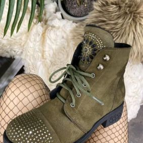 LACE UP ANKLE BOOTS WITH ZIRCONS - OLIVE