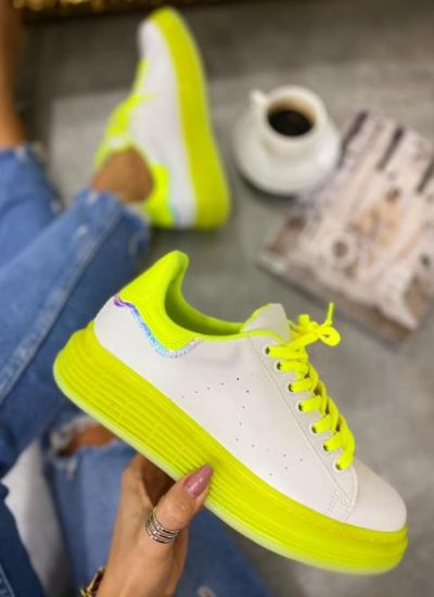 HOLOGRAM SNEAKERS - WHITE/NEON YELLOW