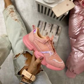 LACE UP HOLOGRAM SNEAKERS - ROSE