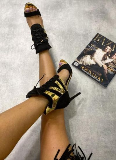 THIN HEEL SANDALS LACE UP - BLACK/GOLD