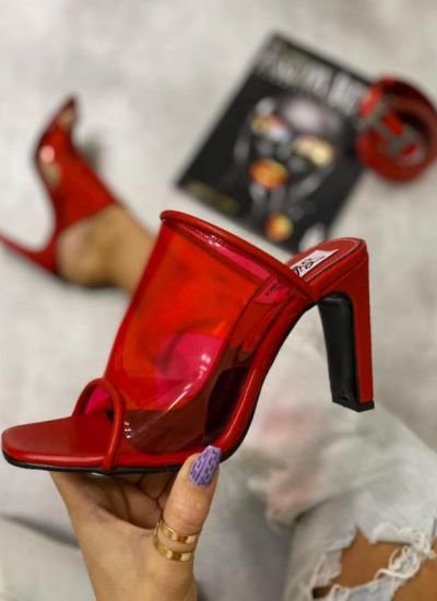 TRANSPARENT THICK HEEL SLIPPERS - RED