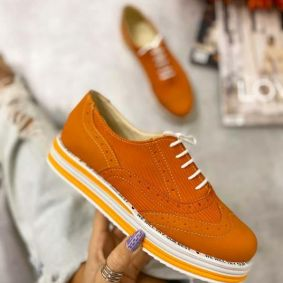 LACE UP OXFORD SHOES - ORANGE