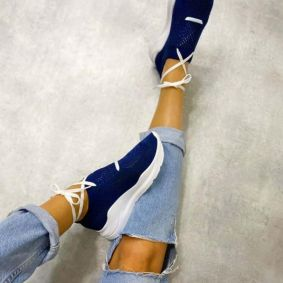 STRETCH SHALLOW SNEAKERS - NAVY BLUE
