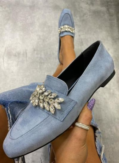 VELOUR POINTE SHOES WITH ORNAMENTS - BLUE