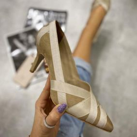 SPIKE STILETTO SHOES - BEIGE