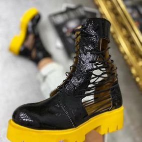 PATENT OPEN ANKLE BOOTS LACE UP - BLACK/ YELLOW