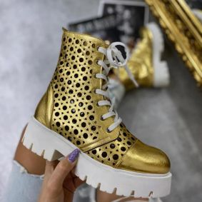 METALIC HOLLOW ANKLE BOOTS - GOLD