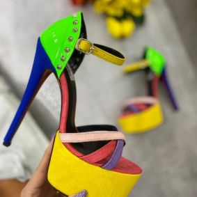 COLOURFUL THIN HEEL SANDALS WITH SPIKES