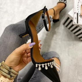 SPIKE SANDALS WITH THIN HEEL AND ZIRCONS - BLACK