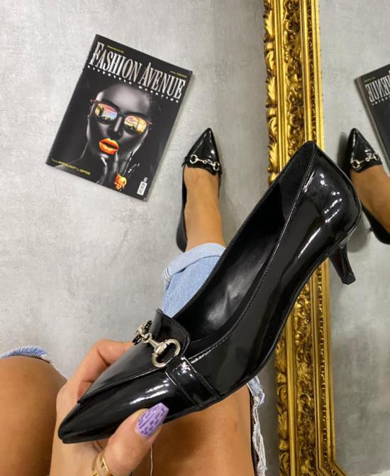 SPIKE STILETTO SHOES WITH THIN HEEL - BLACK