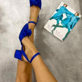 THICK HEEL SANDALS WITH BOW  - BLUE