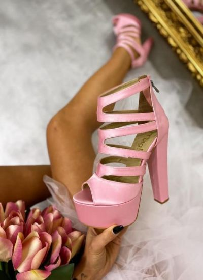 SATEN SANDALS WITH THICK HEEL AND PLATFORM - ROSE