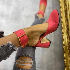 VELOUR MULES WITH DECORATION BELT - CORAL