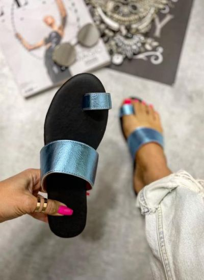 METALLIC MULES - BLUE
