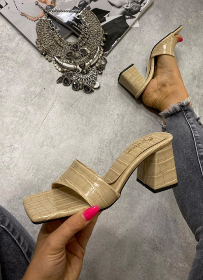 CROC MULES WITH THICK HEEL - BEIGE