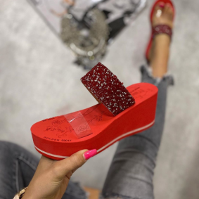 STRASS PLATFORM MULES - RED