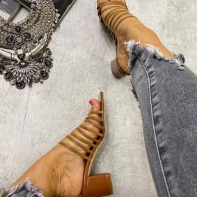 THICK HEEL MULES WITH BELTS - BROWN
