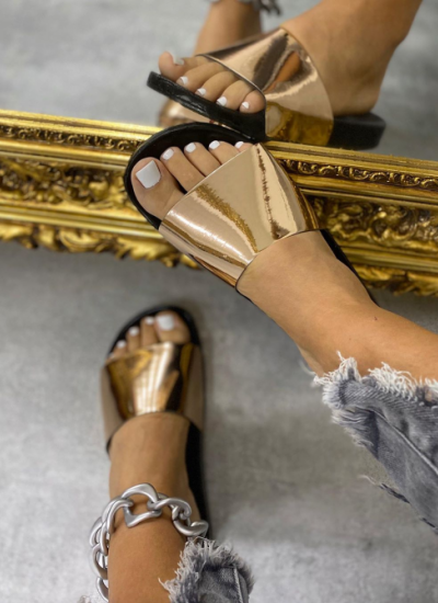 MIRROR FLIP FLOP SLIDERS - BRONZE
