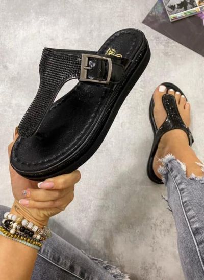 BLING BLING PATENT LEATHER FLIP FLOPS - BLACK