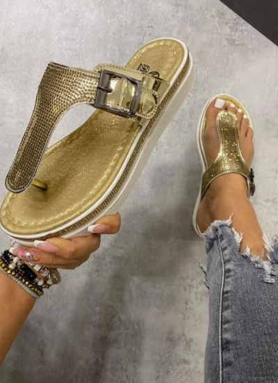 BLING BLING PATENT LEATHER FLIP FLOPS - GOLD