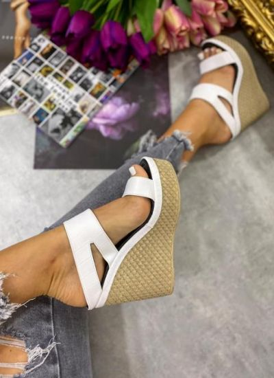 CROC PATTERN WEDGE MULES - WHITE