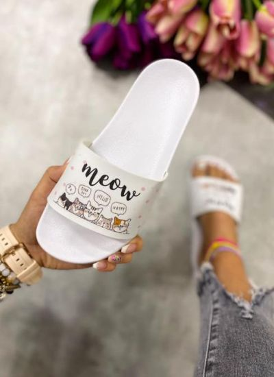 WOMEN SLIDES MEOW - WHITE