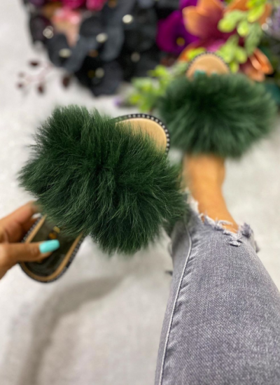 FLAT FUR SLIPPERS - GREEN