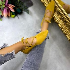 VELOUR LACE UP BALLET FLATS - YELLOW