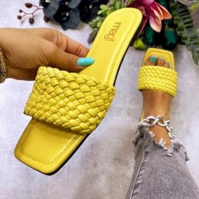 FLAT KNITTED MULES - YELLOW