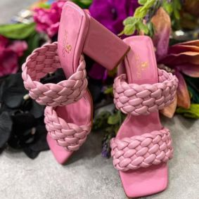 KNITTED MULES WITH BLOCK HEEL - ROSE