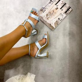 SATIN SANDALS WITH BELT AND THICK HEEL - BLUE