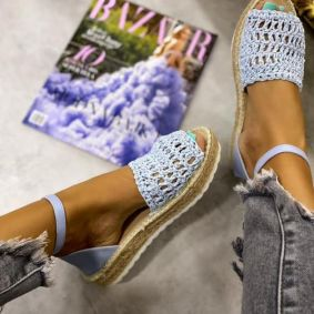 KNITTED JUTE SANDALS - BLUE