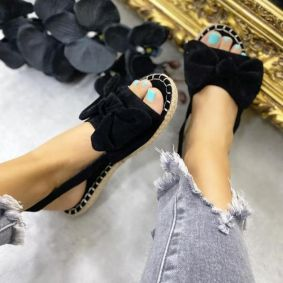 VELOUR FLAT SANDALS WITH BOW - BLACK