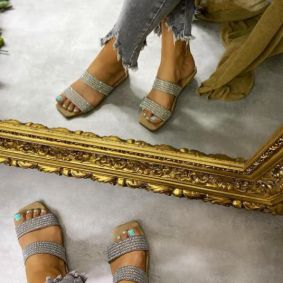 FLAT SLIPPERS WITH ZIRCONS - BEIGE