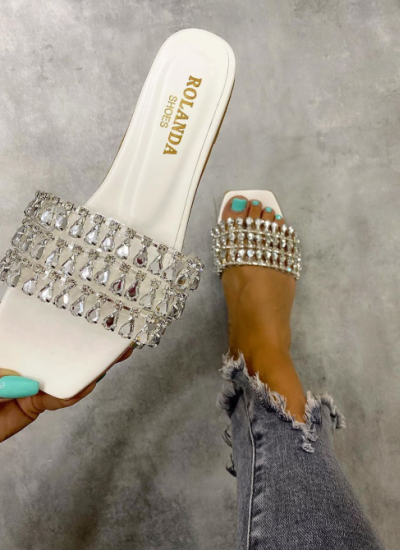 FLAT SLIPPERS WITH ZIRCONS - WHITE